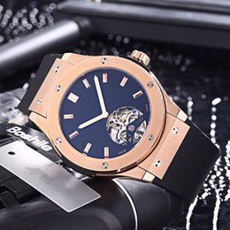 Discount luxury watches rubber belt - Luxury top quality men watch imported leather rubber belt automatic mechanical movement of minerals super mirror 45mm