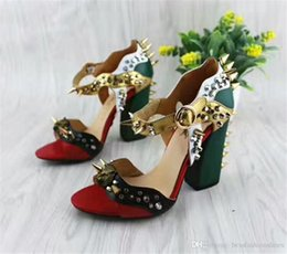 $enCountryForm.capitalKeyWord Australia - Bloggers Favourites Trendy Spikes Thick Heel Summer Shoes Chunky Color Block Brand Women Sandals High Heels Sandals 35-41 Chaussure Femme