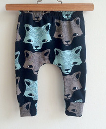 Infant Solid Color Tights Australia - Summer infant trousers wolf printed long pants hot sale baby boys cotton animal bottom harem trousers