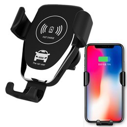 Wholesale Wireless Car Charger W Fast Wireless Charger Car Mount Air Vent Gravity Design Phone Holder Compatible for iphone samsung all Qi Devices