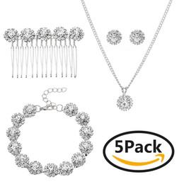 20b9e36f2b5e 8 Fotos Collares para fiestas online-Rosa de oro Joyería nupcial Pendiente  Collar Peine pulsera 5 piezas