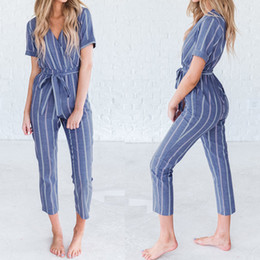 $enCountryForm.capitalKeyWord Australia - Zanzea Women Casual Rompers Belt Ladies Striped Jumpsuits Female V Neck Playsuits Pant Elegant Work Overalls Plus Size Pantalon Y19060501