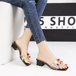 white mule slippers NZ - Shoes Woman Rivets Square Heels Slippers Summer Clear Slides Fashion Transparent Sandals Black White Red Pink Apricot PVC Mules