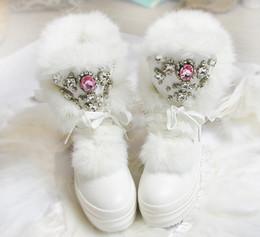 $enCountryForm.capitalKeyWord Australia - 1Real Rabbit Fur Winter Boots Rhinestones Diamond Fashion Snow Boots Thick Warm High-top Women Shoes Large Size 41 Winter Boots