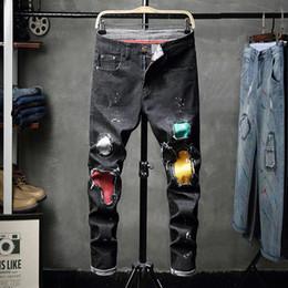 Jeans Pant Paint Australia - New 2019 Men's Style Artificial Brush Paint Men's Short-legged Tight Jeans Fashion Pants 8815