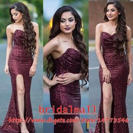 Gold paGeant dresses slit online shopping - Sparkly Burgundy Sequins High Split Prom Evening Dresses Sexy Sweetheart Sheath Long Red Carpet Dress Cheap Pageant Dress Celebrity