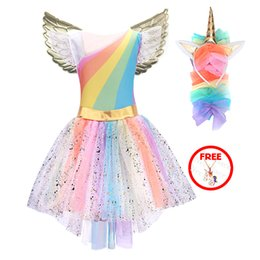Wholesale street cosplay for sale – custom Girls Unicorn Costume Princess Dress New Girls Prom Cosplay Tutu Dress With Headband Summer Dresses for kids Girls