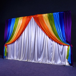 backdrop party Australia - Wedding Decorations Wedding Curtain Backdrops With Rainbow Swags Backcloth Party Curtain Celebration Stage Curtain Performance Background