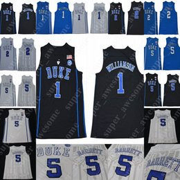 b7cb00208e7 2019 NCAA Duke Blue Devils 1 Zion Williamson Jersey 5 RJ Barrett 2 Cameron  Reddish College Basketball Jerseys Royal Blue Black White