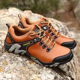 mens leather hiking shoes NZ - Golden Sapling Mens Outdoor Shoes Mountain Trekking Sneakers Men Breathable Leather Rubber Men's Hiking Shoes Tactical Sneakers