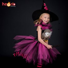 costumes for prom NZ - Girls Halloween Witch Tutu Dress Handmade Festival Costume for Children Party Prom Dresses Kids Photo Clothes Fancy Dress