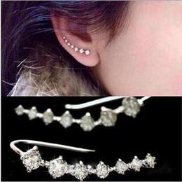 White Rose Earrings Studs Australia - CZ Diamond Clip Cuff Earrings White   Rose Gold Plated Dipper Hook Stud Earrings Jewelry for Women Earring ZL