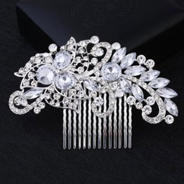 $enCountryForm.capitalKeyWord UK - Fashion Bling Bling Crystal Flower Hair Comb Silver Tone Hair Clips Women Bride Wedding Party Jewelry Accessories