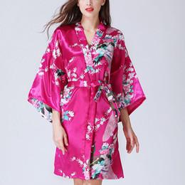 7a3cbbe3e8 Silk Satin Wedding Bride Bridesmaid Robe Floral Bathrobe Short Kimono Robe  Night Bath Fashion Dressing Gown For Women