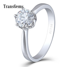 $enCountryForm.capitalKeyWord UK - Transgems Solid 14k 585 White Gold 1 Carat Ct Diameter 6.5mm F Color Lab Grown Moissanite Diamond Engagement Ring For Women Y19032201