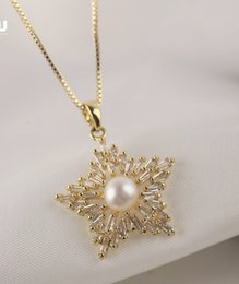 pearl chain indian style UK - Pentagonal Zircon Natural Freshwater Pearl Fashionable Style Female Clavicle Chain Necklace 7097E