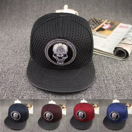 Skull Cap Ball Australia - Quality Designer Rhinestone Skull Matel Logo Hip Hop Hats Adjustable Snapbacks Bling Mesh Flat Brimmed Cap For Adults Mens Womens Sun Visor