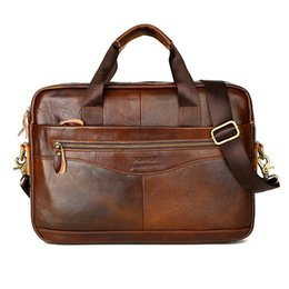 Leather Bag For Inches Australia - Genuine Leather Men Bag Casual Briefcase Handbag for Man Business Bags Solid Brown Men's Briefcases 15 Inches Zipper Bag for Man