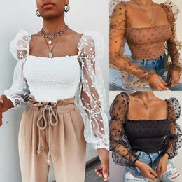 polka dot spring blouse 2020 - 2020 Spring Summer Women Lace See-through Polka Dot Tops Square Neck Puff Long Sleeve Crop Top Female Blouse Shirts Club