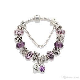 Mothers Charm Chain Australia - Love mother heart Pendant Bracelets Purple Charms big hole angel Beads 925 Silver Chain Bracelet logo brand jewelry