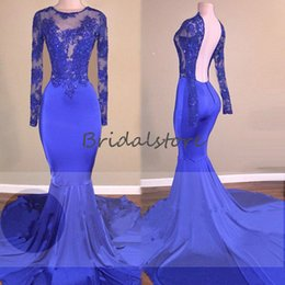 one sleeve kaftan dresses UK - Long Sleeve Royal Blue Prom Dresses Sexy Backless Lace African Mermaid Formal Prom Gowns Sweep Train Dubai Abaya Kaftan Kleider 2020 Robes