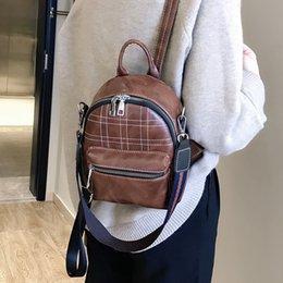 Shoulder Straps Backpack NZ - Vintage Women Pu Leather Backpack Thick Stripe Soild Zipper Bag Strap Daily Shoulder Bag Travel Rucksacks for Girls