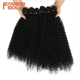 Wholesale Afro Kinky Curly Synthetic Hair Extensions Bundles Ombre Pieces Heat Resistant Weave Hair Bundles For Black Women
