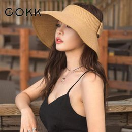 $enCountryForm.capitalKeyWord Australia - COKK Brand New Spring Summer Visors Cap Foldable Wide Large Brim Sun Hat Beach Hats for Women Straw Hat Wholesale