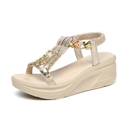 wedge leather sandals Australia - New Women's Sandals Rhinestone High Heel Wedge Heel Thick Sole Sponge Bottom Leather Sandals 35-40
