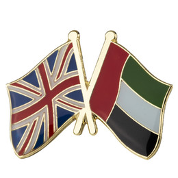 friendship plates Australia - UK U.A.E Friendship Flag Metal Pin Badges for Clothes in Badges Button on Brooch Plating Brooches for Jewelry XY0345