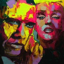 Painting Faces Australia - Hand painted Palette knife painting portrait Palette knife Francoise Nielly Face Abstract Oil painting Impasto figure on canvas Decor FN68