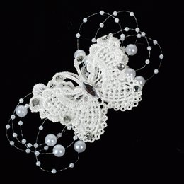 white bead hair clips Australia - Lace Crystal Bead Bridal Jewelry Wedding Handmade Pearl Butterfly Hair Clip Pin Girls Hair Accessories
