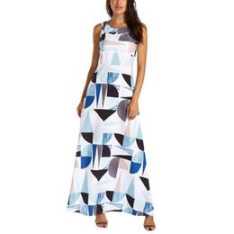 bc4e78dad Playa vacaciones vestido para mujer impresión geométrica color bloque sin  mangas vestidos largos Keyhole espalda O cuello vestido de verano  BF