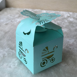 baby box gifts laser cut UK - Beautiful Blue Carnation blossom baby shower Laser Cut Candy Chocolate Gift Boxes Bridal Birthday box with Ribbons country wedding souvenirs