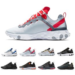 Leather seam online shopping - Hot Taped Seams React Element Women Men Running shoes Designer Trainers Game Royal Solar Red s Sports Sneakers