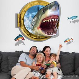$enCountryForm.capitalKeyWord NZ - Terrible Shark 3D Wall Stickers PVC Fish Wall Art Mural for Living Room Kids Room Home Decor