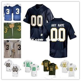Custom Mens Notre Dame Fighting Irish College Football Limited white navy  blue green Personalized Stitched Any Name Number 3 7 Jerseys 4795bba30