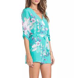 $enCountryForm.capitalKeyWord Australia - Women's elegant Sky blue floral print jumpsuits pants half sleeve Rompers with seashes Zipper casual slim brand pants KZ592