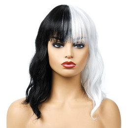 "synthetic mix hair weave Australia - Hot selling fashion women's short wigs 16"" natural wave black with white hair wigs 100% synthetic hair with weaving cap free shipping"
