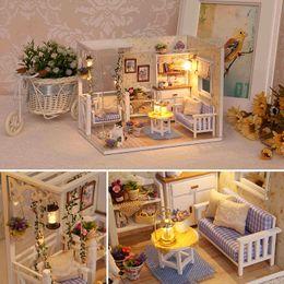 $enCountryForm.capitalKeyWord Australia - DIY Doll House Furnitures Miniature Doll house Dust Cover Wooden Dollhouse Light Handmade House For Dolls Toys For Children