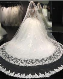 $enCountryForm.capitalKeyWord Australia - Luxury Bridal Veils Wedding Hair Accessories White Ivory Long Crystal Beaded Bling Lace Tulle Cathedral Length 3M Church Veil