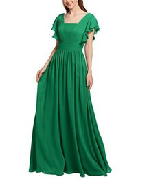 short gown bridesmaid sleeve UK - 2019 Green Chiffon Square A-line Bridesmaid Dress Short Sleeves Pleated Ruffled Floor Length Evening Formal Gown