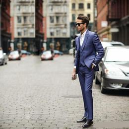 Navy Suits For Sale Australia - Hot Sale 3 Piece (Jacket+Pants+vest) Blue Business Mens Suits Wedding Tuxedos Groomsmen Best Man Suit Formal Suit for Men