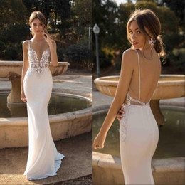 Wholesale silk backless for sale - Group buy Custom Made Mermaid Backless Wedding Dresses Plunging Neck Beaded Beach Lace Bridal Gowns Bohemian Plus Size Vestidos