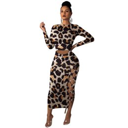 sexy long sleeve fitted dresses Australia - dress Ms Europe and America classic Leopard Long sleeve sideways Split Slim fit dress fashion Sexy Long skirt new style