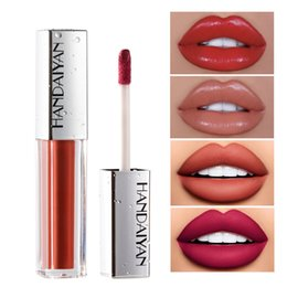 long lasting moisturizing lipstick NZ - HANDAIYAN 12 Colors Lip Gloss Ice Cream Velvet Matte Nude Decolorize Long Lasting Moisturizing Lipstick Lip Glaze Makeup Make Up L2901