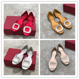 Crystal Chips NZ - Women's Designer Silk Ballerinas crystal-encrusted Chips Flat Shoes Sandals Rounded toe Dress Shoes Lady Party wedding sandals