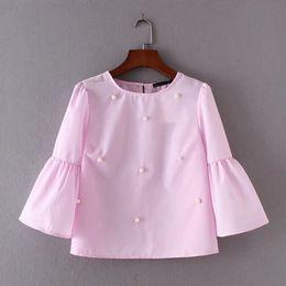 Pearl Blouses Shirts Australia - 2019 Summer Women New Loose Casual Shirt Blouse Elegant Pearls O-neck 3 4 Flare Sleeve Tops Blusas Awedrui