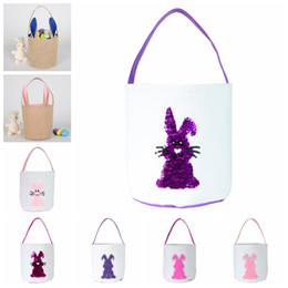 easter egg prints NZ - Easter Bucket 3D Sequins Rabbit Tail Printed Baby Lucky Egg Basket Rabbit Printed Candy Bags Baby Toy Storage Bags Holiday Gift WY443-12Q