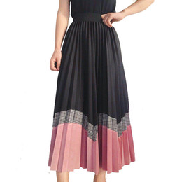 02f5286f31 Korean Style Autumn Wave Patchwork A-line Pleated Skirts Contrast Color  Plaid Wool Blend Mid Calf Long Skirt J190515